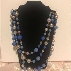 Blue pearl beaded costume jewelry Necklace